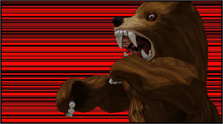 シャドーボクシングをしている熊の着ぐるみを着たおじさん