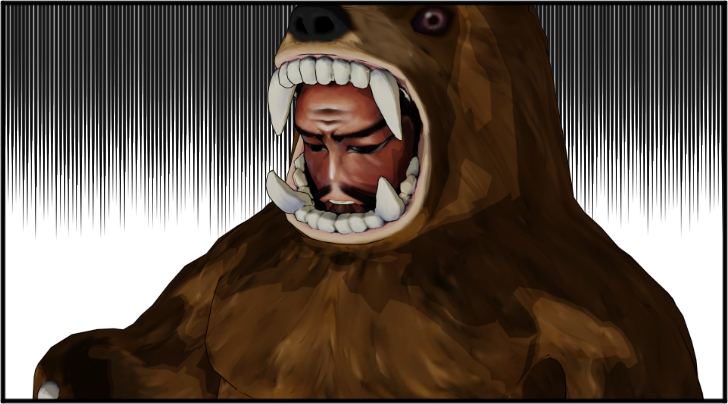 落ち込んだ熊の着ぐるみを着たおじさん