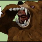 溜息をつく熊の着ぐるみを着たおじさん