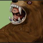 しばらく待っている熊の着ぐるみを着たおじさん