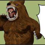 なんて言ったか分からない熊の着ぐるみを着たおじさん