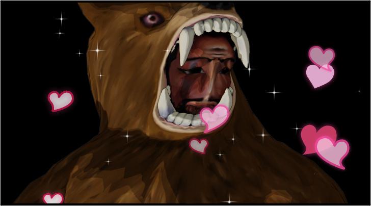 気持ち悪い熊の着ぐるみを着たおじさん