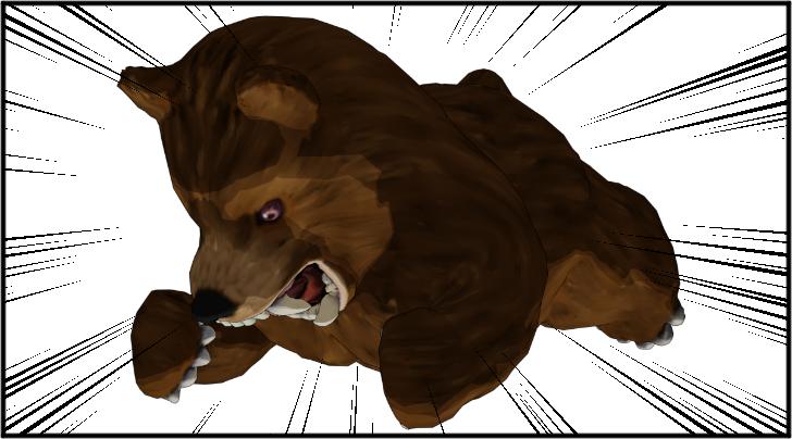 プランクトレーングをする熊の着ぐるみを着たおじさん