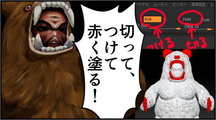 切ってつけて赤く塗ると言っている熊の着ぐるみを着たおじさん