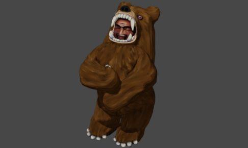 笑顔の熊の着ぐるみを着たおじさん