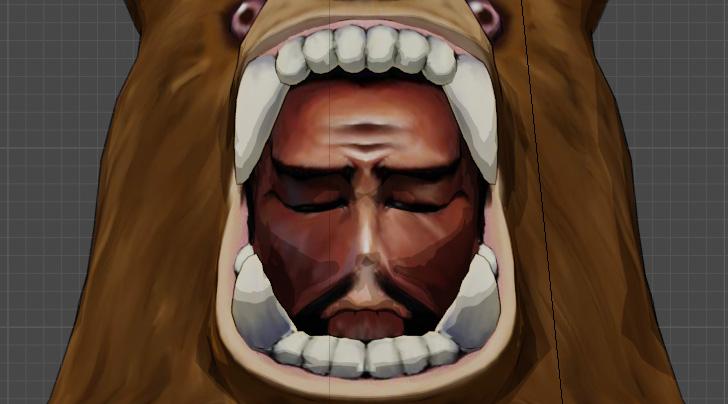 熊の着ぐるみを着たおじさんの悲しんでる顔