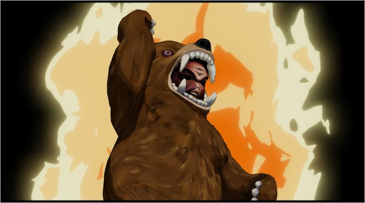 熱くなって拳を突き上げる熊の着ぐるみを着たおじさん